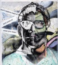 "Me n' Lou-2018: Inkjet print, inkjet transparency, coloured pencil 10""x 12"""