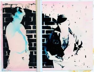 "Moni and Frank-1984: Silver gel prints, ink, foam-core 6""x 8"""