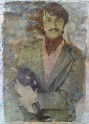 "Rabbit Purveyor-2018: image transfer and acrylic paint on canvas 14""x 16"""